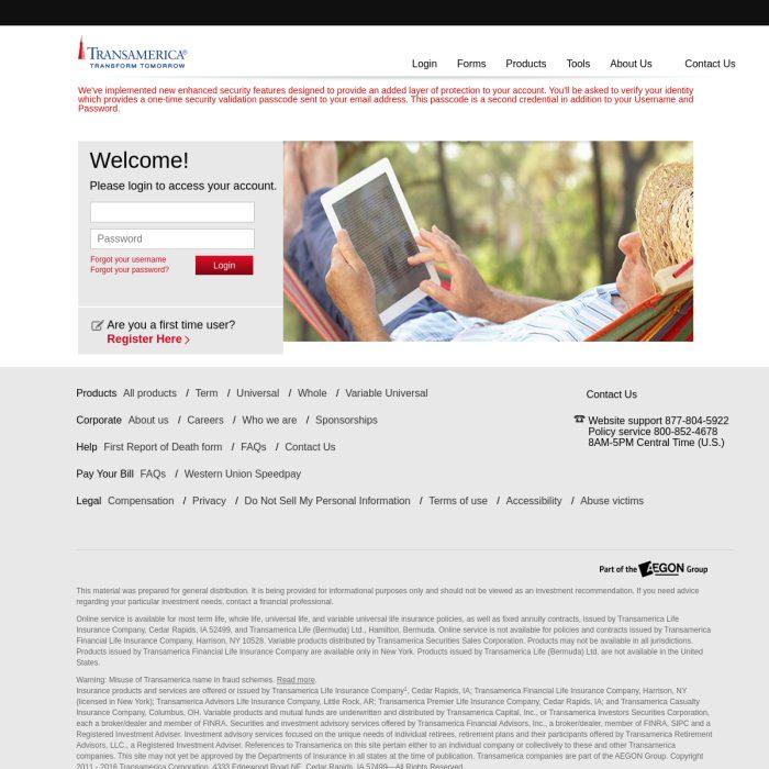 ️ TransAmerica.com - Login to Transamerica Portal/Home